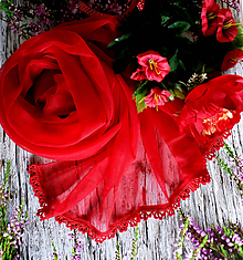 Šály - Cestou srdce - červený průhledný pléd - 10773817_