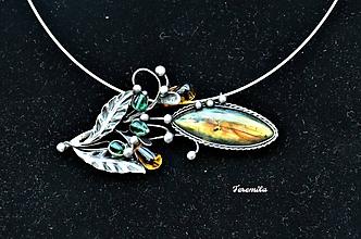 Náhrdelníky - Květina - labradorit - 10773360_