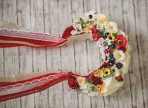 Ozdoby do vlasov - Folklórna svadobná kvetinová parta - 10776607_