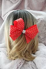 """Ozdoby do vlasov - Saténový hrebienok do vlasov """"červená mašľa"""" - 10774195_"""