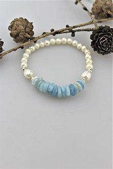Náramky - akvamarín striebro a perly náramok - 10775817_