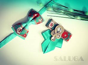 Doplnky - Set pre pár/ pánsky a dámsky motýlik - folklórny - mentolový - soutache - 10774727_