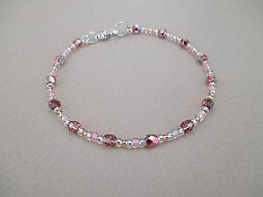 Náramky - Náramok ružovo-trblietavý - 10774052_