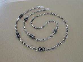 Iné šperky - Retiazka na okuliare s tmavým hematitom - chir. oceľ - 10774218_
