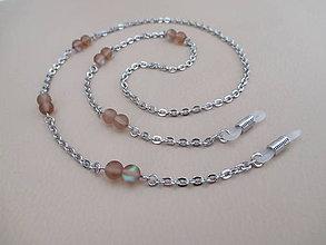 Iné šperky - Retiazka na okuliare - mesačný kameň hnedý - chir. oceľ - 10774306_