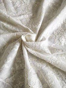 Textil - Vyšívaný batist zlatá niť - 10774281_