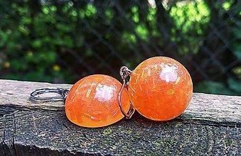 Náušnice - Oranžové visiace butonky - 10775227_