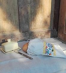 Úžitkový textil - Vrecúško na chlieb a pečivo z ručne tkaného ľanového plátna  svieži folk 34 x 30 cm - 10775521_