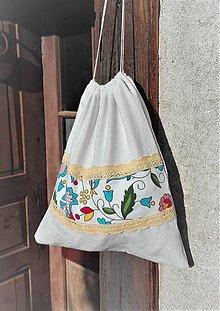 Úžitkový textil - Vrecúško na chlieb a pečivo z ručne tkaného ľanového plátna  svieži folk 34 x 30 cm - 10775526_