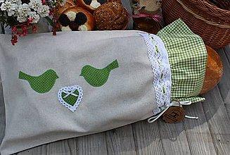 Úžitkový textil - Vrecko na chlieb...vtáčík - 10773643_