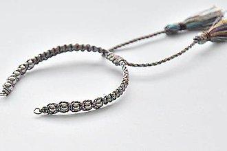 Polotovary - SPE6915,Pletený náramok z lesklých nylonových šnúrok/1ks - 10774318_
