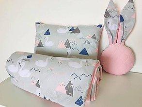 Textil - Detska deka a vankus minky velvet ruzova labute - 10774116_