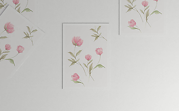 Kresby - Akvarelový art print| botanická ilustrácia Pivonky - 10774074_