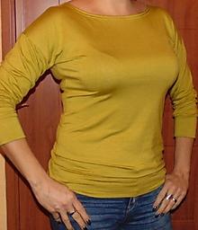 Tričká - Tričko 3/4 rukáv - barva hořčicová, velikost XXXL (sleva 20%) - 10773447_