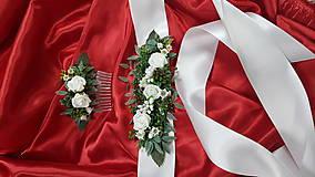 Iné doplnky - Biely kvetinový svadobný set-opasok a hrebienok - 10775490_