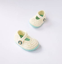 Topánočky - papučky s námorníckym gombíkom (dievčenské) - 10775457_