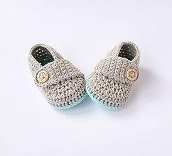 Topánočky - papučky s námorníckym gombíkom (chlapčenské) - 10775461_