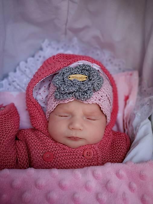 3865a178b Jarná háčkovaná čiapka BELLA (bavlna & merino) - 0-3m (novorodenec ...