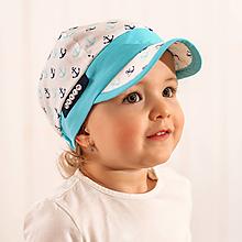 Detské čiapky - Letná šiltovka kotvičky / tyrkis - 10773820_