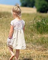Detské oblečenie - Lněné šatičky - Luční kvítí přírodní - 10776609_