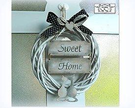 "Dekorácie - Celoročny veniec ""Sweet home with cats"" :) - 10774115_"