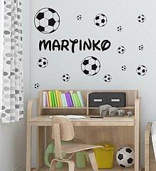 Dekorácie - Nálepky na stenu - Futbalové lopty s menom (Biela) - 10773963_