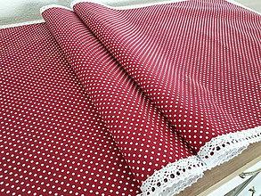 Úžitkový textil - Prestieranie s čipkou (Biela bodka s bielou čipkou) - 10777971_