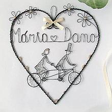 Dekorácie - veľke srdce pre mladomanželov s menami (Béžová) - 10779120_