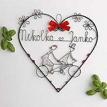 Dekorácie - veľke srdce pre mladomanželov s menami (Červená) - 10779131_