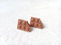 Náušnice - Čokoládové náušničky (Hnedá) - 10777284_