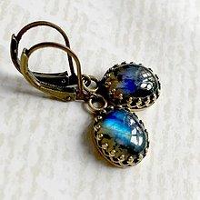 Náušnice - Vintage Bronze Natural Labradorite Earrings / Vintage náušnice s labradoritom v bronzovom prevedení - 10779237_