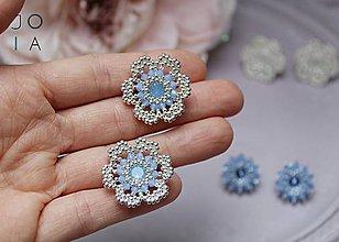 f0da31c70 Šperky. Náušnice - Napichovacie náušnice 'Kvietky' bledomodré so Swarovski®  kryštálmi / Ag925 - 10779375_