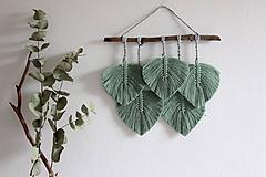 Dekorácie - zelené makramé lístky - 10778195_