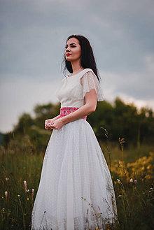 Šaty - Smotanové ľanové šaty s tylom - 10778862_