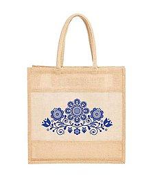 Nákupné tašky - Taška s juty Kvety ľudový motív 03 - 10778527_