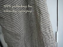 "Textil - ""záclonkový"" 100% len GREY/NATURAL stripes..metráž - 10778106_"