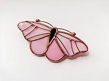 Odznaky/Brošne - Motýlia brošňa (Ružová) - 10779096_