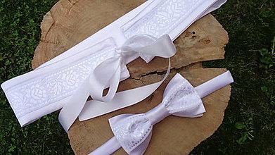 Opasky - Biely folk opasok + motýlik - aj svadobný - 10777140_