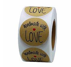 Papier - NA121 Nálepka Hand made with love 2,5 cm - 10777497_