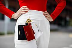 Peňaženky - Kožená kľúčenka/peňaženka MARATHON - červená - 10779435_