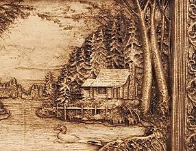 Dekorácie - Dom na Jazere - Drevený 3D obrázok - 10777097_