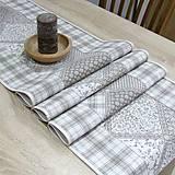 Úžitkový textil - KAMIL-hnedo béžový patchwork a káro na režnej-stredový obrus - 10776661_