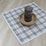 Úžitkový textil - KAMIL-hnedo béžový patchwork a káro na režnej-štvorec 40x40 - 10776695_