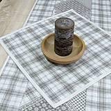 Úžitkový textil - KAMIL-hnedo béžový patchwork a káro na režnej-štvorec 40x40 - 10776698_