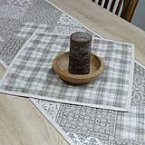 Úžitkový textil - KAMIL-hnedo béžový patchwork a káro na režnej-štvorec 40x40 - 10776699_