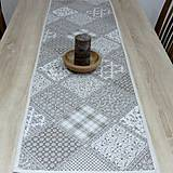 Úžitkový textil - KAMIL(2) -hnedo béžový patchwork a káro na režnej-stredový obrus 135x40 - 10778570_