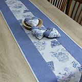 Úžitkový textil - LINA-kvetinové šálky na sivom melíre-stredový obrus - 10779575_