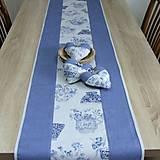 Úžitkový textil - LINA-kvetinové šálky na sivom melíre-stredový obrus - 10779576_