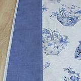 Úžitkový textil - LINA-kvetinové šálky na sivom melíre-stredový obrus - 10779577_
