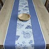 Úžitkový textil - LINA-kvetinové šálky na sivom melíre-stredový obrus - 10779578_